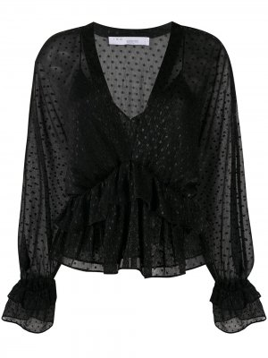 Блузка с длинными рукавами и вышивкой IRO. Цвет: черный