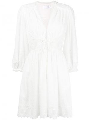 Короткое платье с вышивкой Zimmermann. Цвет: белый