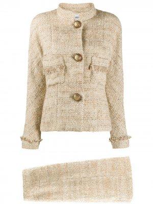 Меланжевый костюм с юбкой 1980-х годов Chanel Pre-Owned. Цвет: коричневый