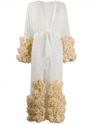 Кружевной халат с цветочной аппликацией Dolci Follie. Цвет: белый