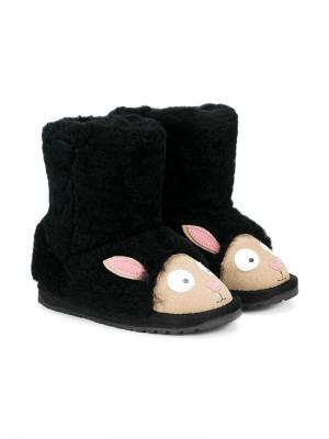 Сапоги в виде черных овец Emu Kids. Цвет: черный