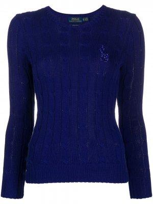 Пуловер с логотипом из бисера Polo Ralph Lauren. Цвет: синий