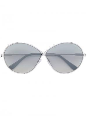 Солнцезащитные очки с круглой оправой Tom Ford Eyewear. Цвет: металлик
