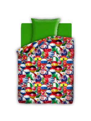 Комплект постельного белья 1,5 бязь Чемпионат 4you. Цвет: зеленый