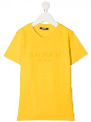Футболка с логотипом Balmain Kids. Цвет: желтый