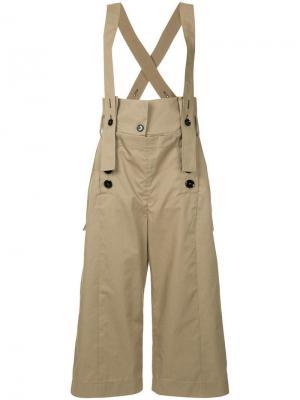 Брюки с широкими штанинами на подтяжках Eudon Choi. Цвет: коричневый