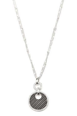 Кулон на двойной цепочке Inesse M. Цвет: серебряный