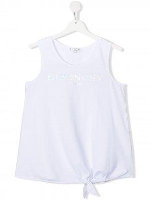 Топ без рукавов с логотипом Givenchy Kids. Цвет: белый