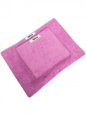 Комплект полотенец с нашивкой-логотипом TEKLA. Цвет: фиолетовый