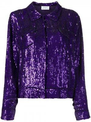 Рубашка с пайетками P.A.R.O.S.H.. Цвет: фиолетовый