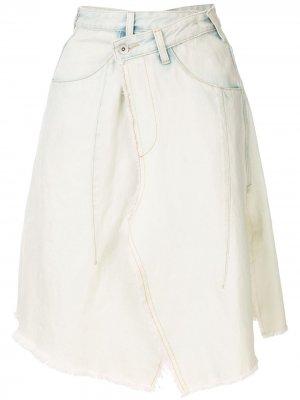 Джинсовая юбка асимметричного кроя с запахом Ground Zero. Цвет: синий