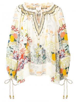 Блузка с цветочным принтом Camilla. Цвет: белый