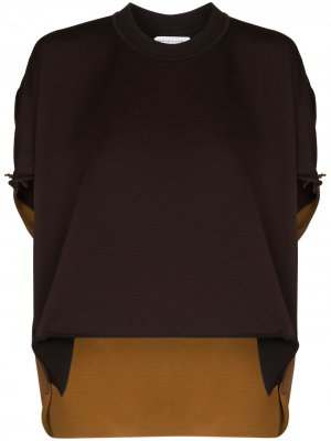 Двухцветная блузка с подвернутым подолом Bottega Veneta. Цвет: коричневый