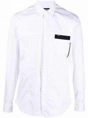 Рубашка с контрастными вставками Les Hommes. Цвет: белый