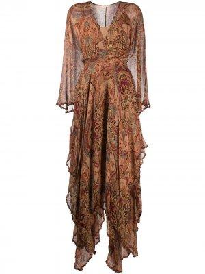 Платье-трапеция длины миди с узором пейсли Mes Demoiselles. Цвет: нейтральные цвета