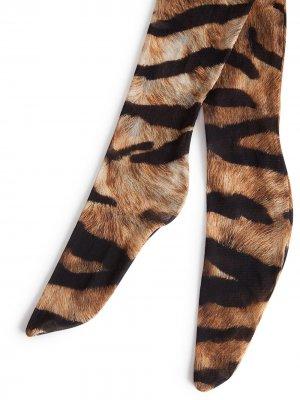 Колготки с тигровым принтом Dolce & Gabbana. Цвет: коричневый