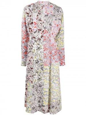 Платье с цветочным принтом в технике пэчворк Lala Berlin. Цвет: белый