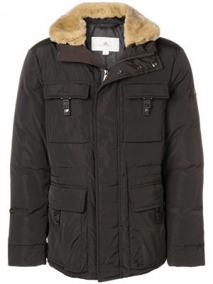 Куртка с отделкой из меха кролика Peuterey. Цвет: коричневый