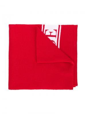 Трикотажный шарф с логотипом Canada Goose Kids. Цвет: красный