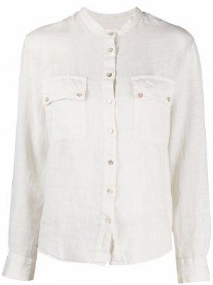 Рубашка с воротником-стойкой 120% Lino. Цвет: белый