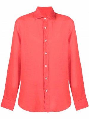 Рубашка на пуговицах 120% Lino. Цвет: красный