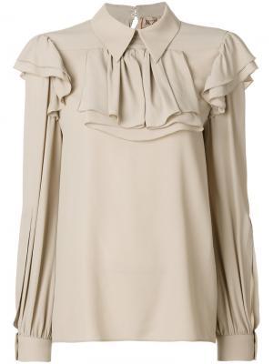Блузка с оборкой Nº21. Цвет: нейтральные цвета