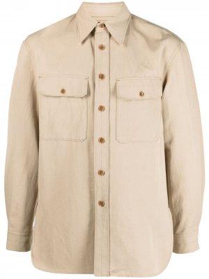 Рубашка с длинными рукавами и карманами Lemaire. Цвет: нейтральные цвета