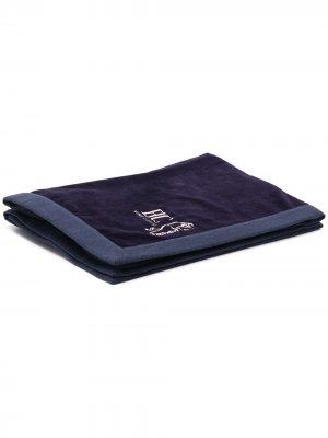 Полотенце с вышитым логотипом Brunello Cucinelli. Цвет: синий