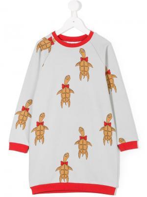 Платье-толстовка с принтом Turtle Mini Rodini. Цвет: серый