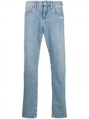 Прямые джинсы с принтом Off-White. Цвет: синий