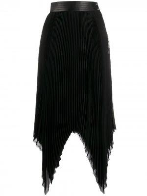 Плиссированная юбка асимметричного кроя LOEWE. Цвет: черный