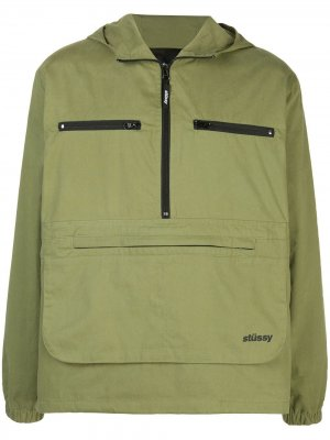 Анорак с капюшоном и карманами Stussy. Цвет: зеленый