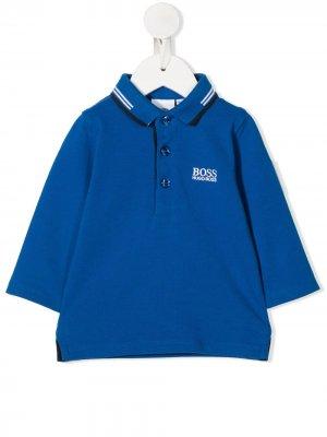 Рубашка поло с вышитым логотипом BOSS Kidswear. Цвет: синий