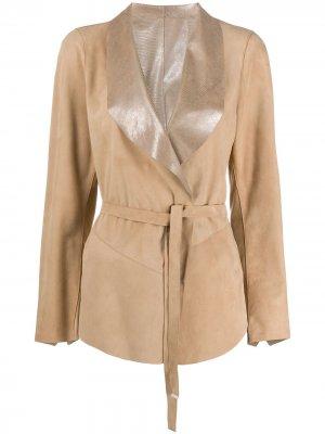 Куртка с воротником-шалькой и поясом Suprema. Цвет: коричневый
