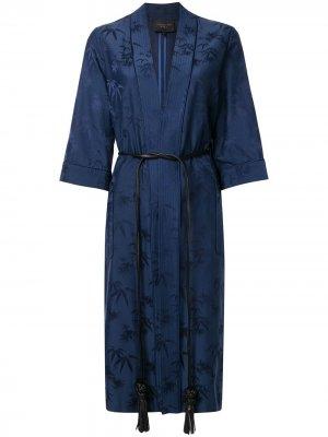 Жаккардовый халат-кимоно Bamboo Shanghai Tang. Цвет: синий