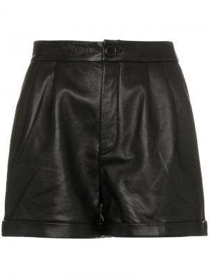 Кожаные шорты FRAME. Цвет: черный