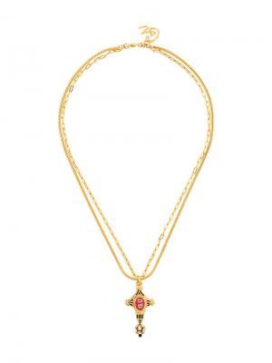 Длинное ожерелье с подвеской-крестом Christian Lacroix Vintage. Цвет: металлик