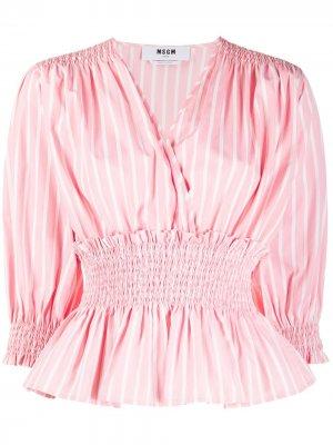 Блузка в полоску с баской MSGM. Цвет: розовый