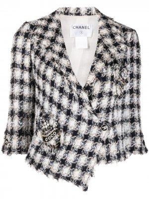 Твидовый жакет 2007-го года в клетку Chanel Pre-Owned. Цвет: синий