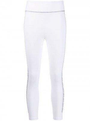 Укороченные легинсы с логотипом FF Fendi. Цвет: белый