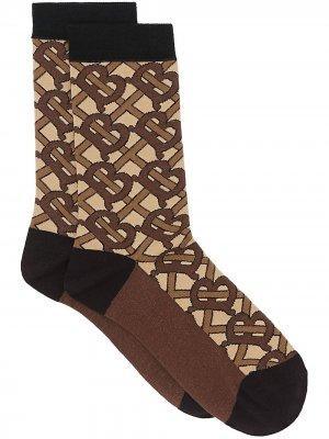 Носки с монограммой вязки интарсия Burberry. Цвет: коричневый