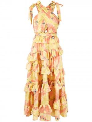 Платье с принтом тай-дай Ulla Johnson. Цвет: желтый