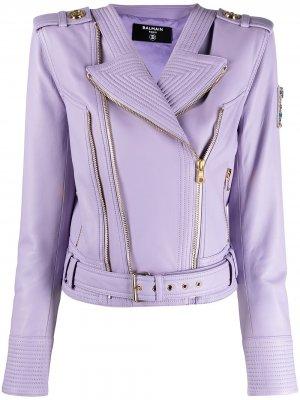 Байкерская куртка с кристаллами Balmain. Цвет: фиолетовый