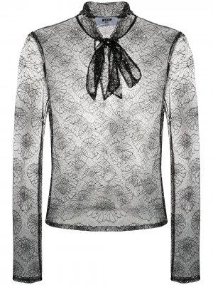 Кружевная блузка с цветочным узором MSGM. Цвет: черный