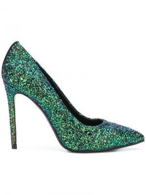 High heel glitter pumps Marc Ellis. Цвет: зеленый
