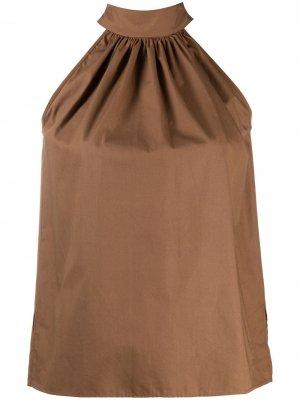 Блузка без рукавов с завязками на воротнике Jejia. Цвет: коричневый