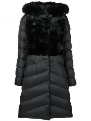 Padded mid-length coat Liska. Цвет: черный