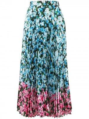 Плиссированная юбка с цветочным принтом Mary Katrantzou. Цвет: синий
