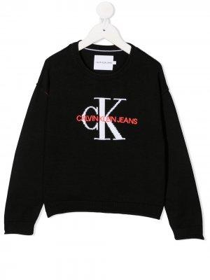 Джемпер с вышитым логотипом Calvin Klein Kids. Цвет: черный