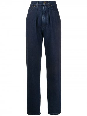 Зауженные джинсы с завышенной талией Alberta Ferretti. Цвет: синий
